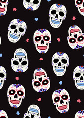 Day of the Dead sugar skull with floral ornament and flower seamless pattern on black background. halloween skull pattern background. vector illustration