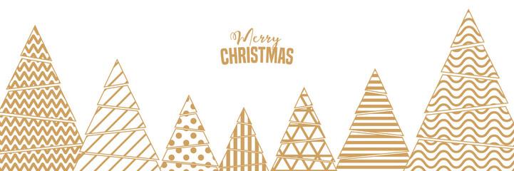 geometrischer Weihnachtsbanner weiß mit Bäumen