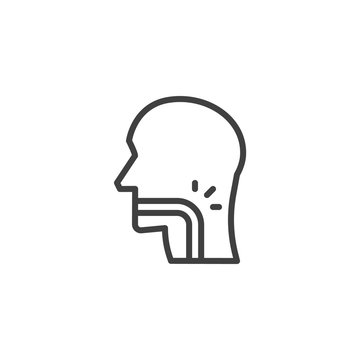 Throat pain line icon. linear style sign for mobile concept and web design. Sore throat outline vector icon. Symbol, logo illustration. Vector graphics