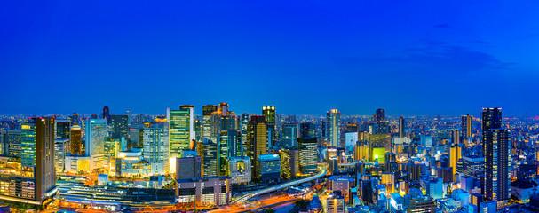 Foto auf Leinwand Dunkelblau 大阪の夜景・パノラマ