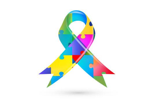 Autism puzzle ribbon symbol