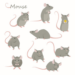 Cute mouse character set. flat design style minimal vector illustration.