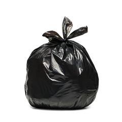 Fototapeta Czarny worek na śmieci na białym tle obraz
