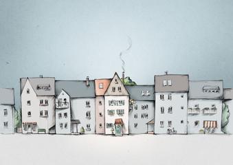 Häuserzeile, Straßenansicht in der Stadt