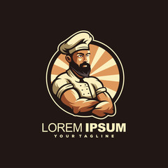 awesome bearded chef logo design