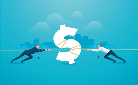 businessmen pull the rope with money icon business concept. tug of war background vector illustration EPS10