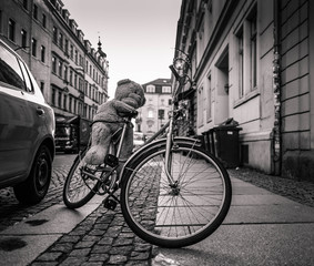 Printed roller blinds Bicycle Greyscale image of a bicycle with teddy bear parked on side walk in an urban street with historic townhouses in a low angle view