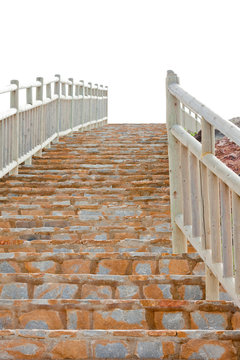 Flight of brick steps with wooden railings