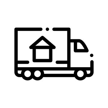 Cargo Truck Delivery To House Vector Sign Icon Thin Line. House Building Image On Transportation Autotruck Carosserie Linear Pictogram. Rent Or Buy Apartment Garage Contour Illustration