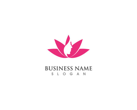 Beautiful face woman with lotus for spa icon template design