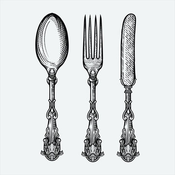 Vector illustration of vintage spoon fork and knife made in hand drawn sketch style