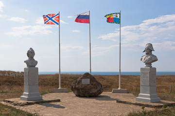 Busts of Alexander Suvorov and Fedor Ushakov at the Fanagori fortress in the village of Taman, Temryuk district of the Krasnodar region