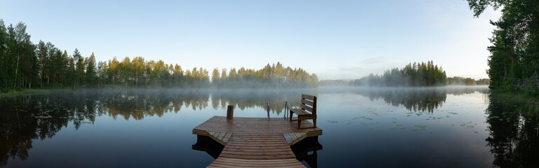Wall Murals Blue sky Misty morning in eastern Finland