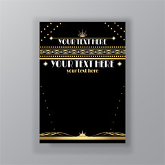 Art Deco page template, retro  style for web and print, city and the lights pattern with golden lines. Modern design for menu or flyer, luxury gentle