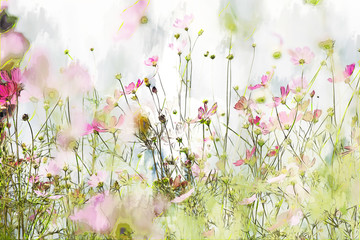 Digital painting of cosmos flower on cool tone background