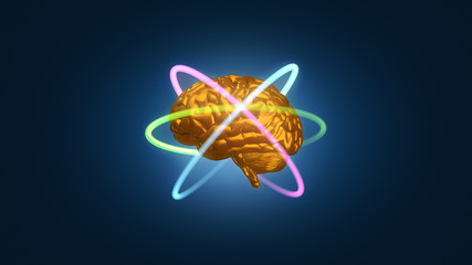 Colorful gold metallic brain with atomic electron paths in orbit - 3D rendered illustration