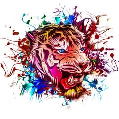 tiger on colored creative mysterious background - Illustration
