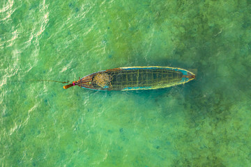 a small fishing boat drowned in the sea