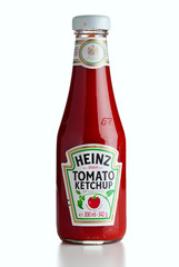 Ratingen, Germany - July 13, 2011: Heinz Tomato Ketchup Bottle isolated on white background.