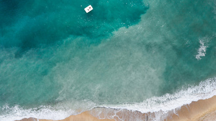 Aerial view of  beautiful clear beach. Sea Aerial view.