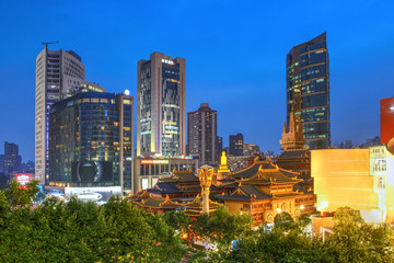 Jing'an Temple and skyline, Shanghai, China