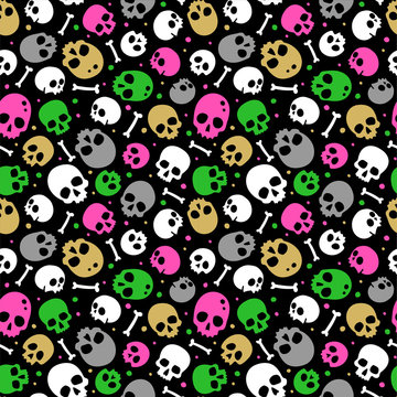 Spooky vector pattern with skulls and bones.