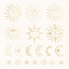 Set of hand drawn golden suns with faces, moons and stars. Vector isolated illustration.
