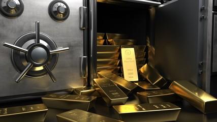 Fototapete - Safe Fine Gold Bars 1000g