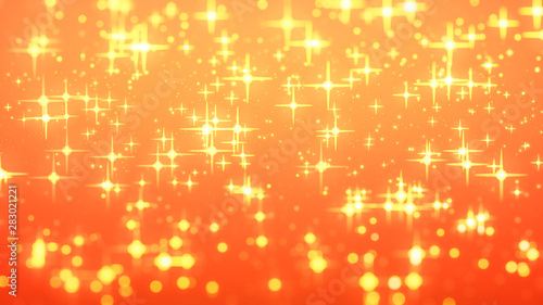 gold christmas background, star glow on red background with