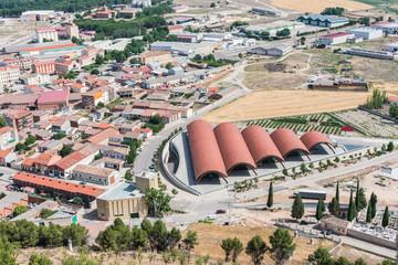 aerial view of modern wine cellar building