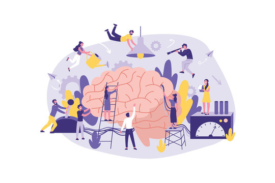 Business Concept Neuromarketing, Brainstorm, AI. A large Group of Clerks perform Work , information Search, Analysis, Support, Promotion in the Office. Teamwork of Businessmen Marketing, Management