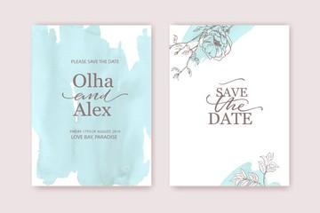 Floral frame design. Wedding invitation arrangement. Fine art botanical composition. Hand drawn flowers, roses. For card, invitation, save the date. Blue watercolor background.