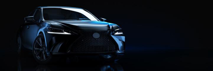 Sports car, studio setup, on a dark background. 3d rendering Fototapete