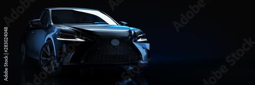 Fototapete Sports car, studio setup, on a dark background. 3d rendering