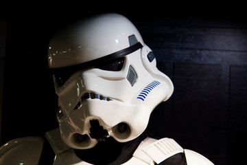 LONDON, UK - JULY 31th 2018: A Stormtrooper figure from the popular Star Wars film franchise on display in a shop in central London