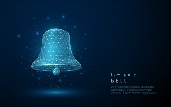 Abstract bell icon. Low poly style design.