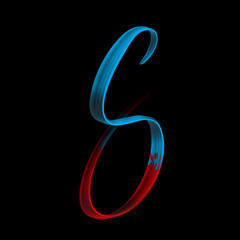 Capital letter S isolated on black - beautiful 3D hand lettering