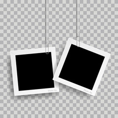 Wall Mural - Retro realistic photo frame with paper clip isolated on transparent background