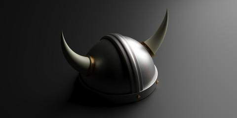 Viking helmet with horns against black background. 3d illustration