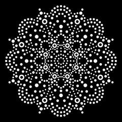 Dot art vector mandala, traditional Aboriginal dot painting design, indigenous decoration from Australia in white on black background
