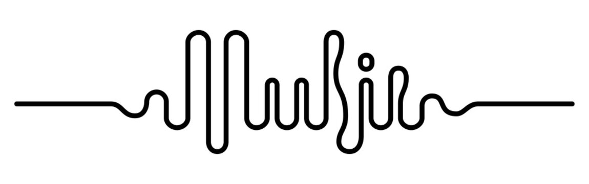 Sound wave in the form of the word Music. Vector lettering