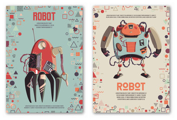 Design template with robots characters and geometric shapes. Technology, future. Artificial intelligence concept. Vector illustration