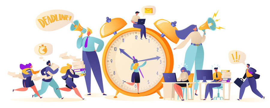 Time management on the road to success. Office workers and business people working overtime at Deadline. Flat сartoon characters work in high stress conditions and under hard boss pressure.