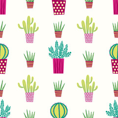 Cactus cacti succulents potted plants seamless repeat vector pattern