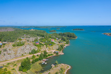 Wall Murals Turkey Aerial view of Aland Islands at summer time. Finland. The Archipelago. Photo made by drone from above. Nordic Natural Landscape.