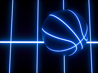 3D rendering of blue neon basketball ball on black background
