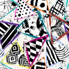 seamless background pattern, with triangles, circles, paint strokes and splashes, black and white