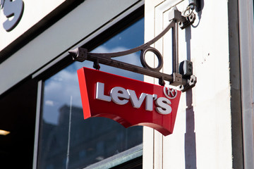 LONDON, UK - JULY 31th 2018: Levis clothing store shop sign on Regent Street in central London.