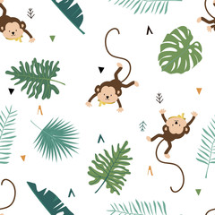 Cute safari background with monkey,leaves.Vector illustration seamless pattern for background,wallpaper,frabic.include wording wild and free.Editable element