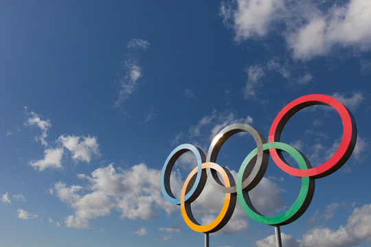 LONDON, UK - February 15th 2018: The Olympic symbol, made up of five interconnected coloured rings, under a blue sky
